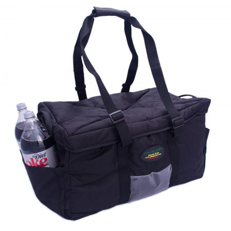catering bag with drinks in side pouch