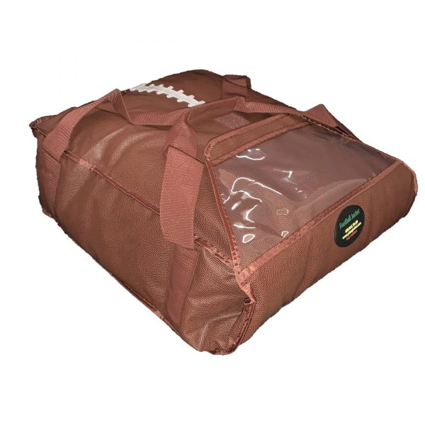 football-themed insulated bag laying flat