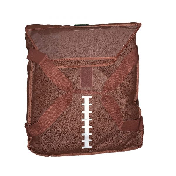 Football-themed insulated bag standing up