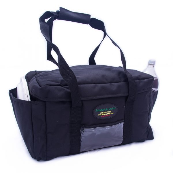 Large sandwich delivery bag with plates and drink