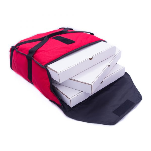 Small red pizza delivery bag holding 3 pizzas