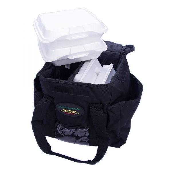 Small sandwich delivery bag showing capacity