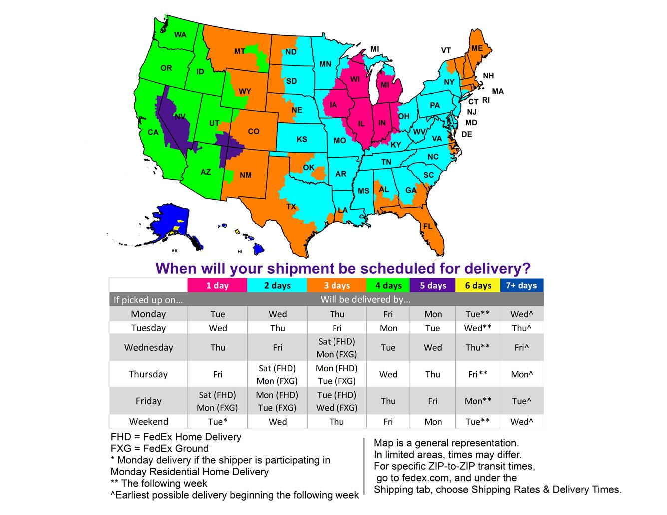 FedEx Shipping Zones